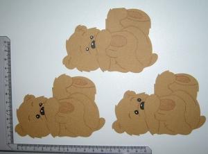 Scrapbooking  Stanzteil  Kartendeko  Kartenschmuck  3 Bärenrohlinge liegend braun - Handarbeit kaufen