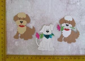 Scrapbooking  Stanzteil  Kartendeko  Kartenschmuck  3  süpersüße kleine Hunde gemischte Farben - Handarbeit kaufen