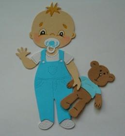 Scrapbooking Stanzteile Kartenschmuck  Kartendeko kleiner süßer stehender Junge - Handarbeit kaufen