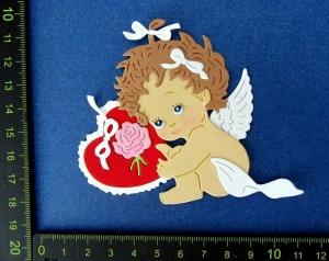 Scrapbooking  Stanzteil  Kartendeko  Kartenschmuck  vintage Engelskind mit Herz Muttertag - Handarbeit kaufen