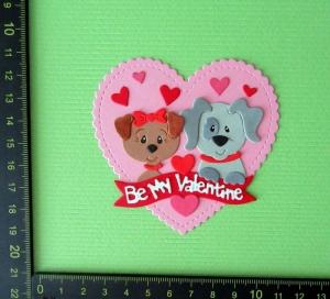 Scrapbooking  Stanzteil  Kartendeko  Kartenschmuck  Be My Valentine Herz mit Hunden - Handarbeit kaufen