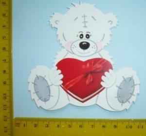 Scrapbooking  Stanzteil  Kartendeko  Kartenschmuck  Teddy Weiß Sitzend Mit Herz - Handarbeit kaufen
