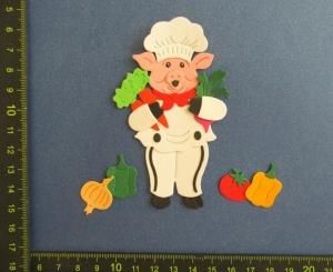 Scrapbooking  Stanzteil  Kartendeko  Kartenschmuck  lustiger Chefkoch gesunde Kost - Handarbeit kaufen
