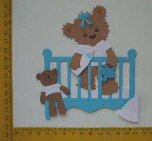 Scrapbooking  Stanzteil  Kartendeko  Kartenschmuck  Babybärchen im Bett - Handarbeit kaufen
