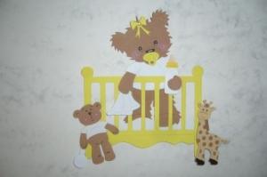Stanzteile Kartenschmuck Kartenaufleger Kartendeko Scrapbooking Babybärchen im Bett - Handarbeit kaufen