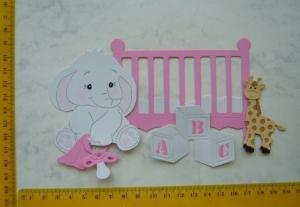 Stanzteile Kartenschmuck Kartenaufleger Kartendeko Scrapbooking Babyelefant  im Bett - Handarbeit kaufen
