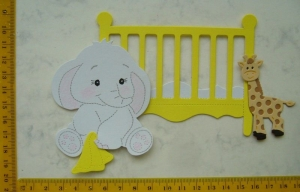 Stanzteile Kartenschmuck Kartenaufleger Kartendeko Scrapbooking Baby Geburt Babyelefant im Bett - Handarbeit kaufen