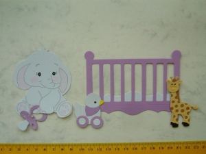 Stanzteile Scrapbooking Kartendeko  Kartenschmuck Geburt Baby Elefant mit Baby Bettchen - Handarbeit kaufen