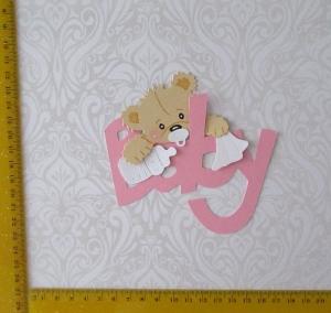 Scrapbooking  Stanzteil  Kartendeko  Kartenschmuck  Geburt Baby Bärchen auf Schriftzug Baby  - Handarbeit kaufen