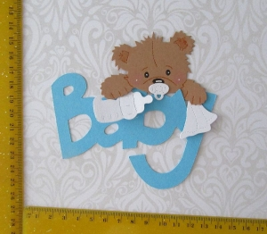 Stanzteile Kartenschmuck Kartenaufleger Kartendeko Scrapbooking Babybärchen mit Schrift - Handarbeit kaufen