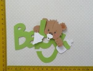 Stanzteil  Kartendeko  Kartenschmuck Scrapbooking Geburt Baby mit Schriftzug - Handarbeit kaufen