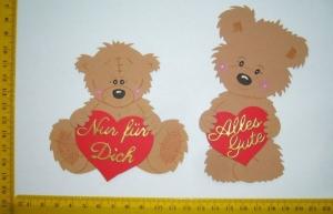 Stanzteil  Kartendeko  Kartenschmuck Scrapbooking 2 Bären mit Herz und mit Schriftzug - Handarbeit kaufen