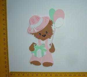 Stanzteil  Kartendeko  Kartenschmuck Scrapbooking  Kindergeburtstag stehendes Bärenmädchen  - Handarbeit kaufen