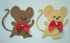 Stanzteil  Kartendeko  Kartenschmuck Scrapbooking Geburtstag 2 lustige laufende Mäuse - Handarbeit kaufen