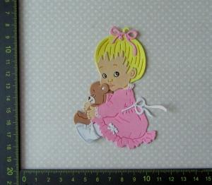 Stanzteil  Kartendeko  Kartenschmuck Scrapbooking Kindergeburtstag süßes kleines Mädchen - Handarbeit kaufen