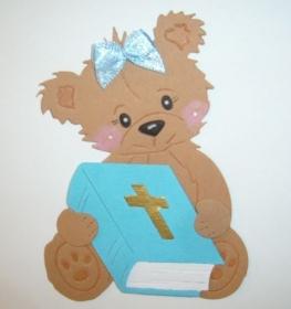 Stanzteil  Kartendeko  Kartenschmuck Scrapbooking Taufe  Bären mit Bibel - Handarbeit kaufen