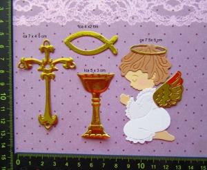 Stanzteil  Kartendeko  Kartenschmuck Scrapbooking Taufe Kommunion betender Engel mit Zubehör  - Handarbeit kaufen