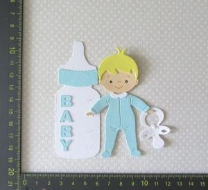 Stanzteil  Kartendeko  Kartenschmuck Scrapbooking Geburt Baby Boy mit Flasche  - Handarbeit kaufen