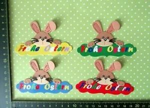 Stanzteile Scrapbooking Kartenschmuck Karten Ostern Basteln Hasen auf Osterschrift - Handarbeit kaufen
