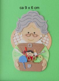Stanzteil  Kartendeko  Kartenschmuck Scrapbooking  Oma mit Bastelkästchen - Handarbeit kaufen