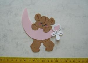 Stanzteil  Kartendeko  Kartenschmuck Scrapbooking Geburt Teddy Baby mit Mond  - Handarbeit kaufen