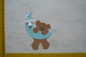 Stanzteil  Kartendeko  Kartenschmuck Scrapbooking Baby Teddy mit Mond - Handarbeit kaufen