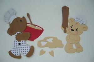 Stanzteil  Kartendeko  Kartenschmuck Scrapbooking Kindergeburtstag Teddys Beim Backen  - Handarbeit kaufen