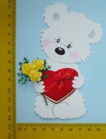 Stanzteil  Kartendeko  Kartenschmuck Scrapbooking Kindergeburtstag Teddy Geburtstag mit Rosen - Handarbeit kaufen