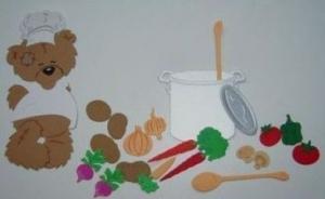 Stanzteil  Kartendeko  Kartenschmuck Scrapbooking Kindergeburtstag Chefkoch mit Gemüse und Zubehör