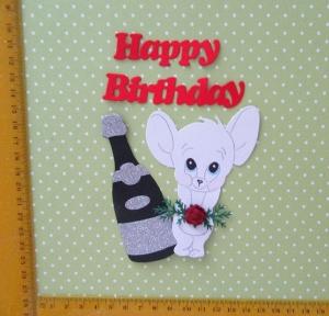 Stanzteil  Kartendeko  Kartenschmuck Scrapbooking  Geburtstag süße kleine weiße Maus mit Rosen - Handarbeit kaufen