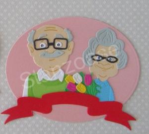 Stanzteil  Kartendeko  Kartenschmuck Scrapbooking Jubileum Grandma und Grandpa  - Handarbeit kaufen