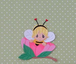 Stanzteil  Kartendeko  Kartenschmuck Scrapbooking Kindergeburtstag süßes kleines Mädchen in Blume - Handarbeit kaufen