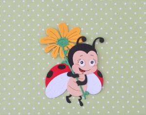 Stanzteil  Kartendeko  Kartenschmuck Scrapbooking Kindergeburtstag supersüßes Marienkäferchen mit Blume - Handarbeit kaufen