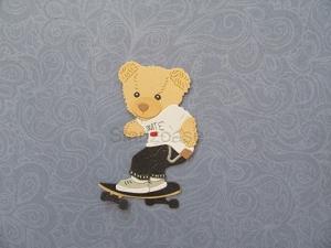 Stanzteil  Kartendeko  Kartenschmuck Scrapbooking Skater Teddy Kindergeburtstag