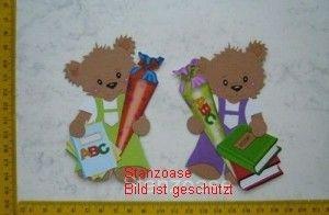 Stanzteil  Kartendeko  Kartenschmuck Scrapbooking 2 Bären mit Zuckertüte - Handarbeit kaufen