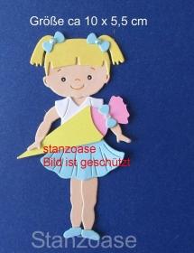 Stanzteil  Kartendeko  Kartenschmuck Scrapbooking  Einschulung Mädchen mit Zuckertüte  - Handarbeit kaufen
