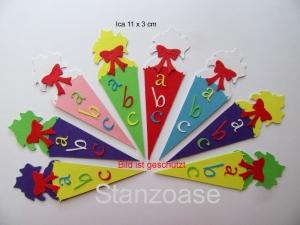 Stanzteil  Kartendeko  Kartenschmuck Scrapbooking hübsche bunte Schultüten  - Handarbeit kaufen