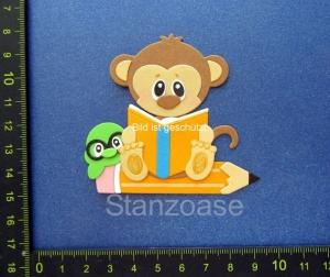 Stanzteil  Kartendeko  Kartenschmuck Scrapbooking lustiger Affe auf Bleistift Einschulung