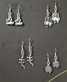 Ohrringe, verschiedene Anhängerformen, silber - Handarbeit kaufen
