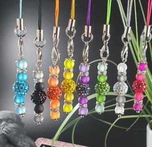 Taschenanhänger, Handyanhänger, Schlüsselanhänger aus Perlen mit Strass - Handarbeit kaufen