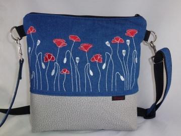 blaue Umhängetasche mit gestickten Mohnblumen, Schultertasche