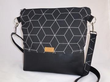 schwarze Umhängetasche mit geometrischem Muster, Schultertasche