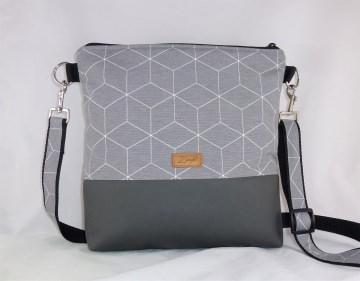 graue Umhängetasche mit geometrischem Muster, Schultertasche