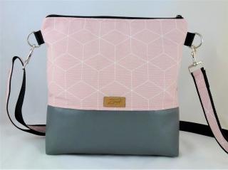rosa Umhängetasche mit geometrischem Muster, Schultertasche