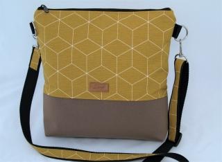 Curryfarbene Umhängetasche mit geometrischem Muster, Schultertasche