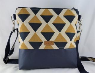 Umhängetasche curry /blau  mit geometrischem Muster, Schultertasche - Handarbeit kaufen