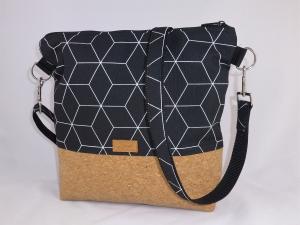 schwarze Umhängetasche mit geometrischem Muster, Schultertasche , Korktasche,