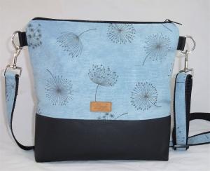 Umhängetasche  blau mit Pusteblumen, Schultertasche  - Handarbeit kaufen