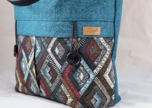 Shopper Oslo in petrol mit geometrischem Muster, Schultertasche  - Handarbeit kaufen