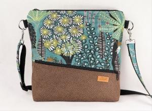 Umhängetasche,  Schultertasche, Reißverschlusstasche, floral - Handarbeit kaufen